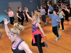 A Zumba class led by Chelsie Vega at the Casco Bay Branch of the YMCA in Freeport.